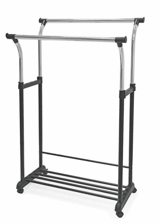 Kleiderwagen Swing - Chromfarben/Schwarz, MODERN, Kunststoff/Metall (90/111-170/52,5cm)