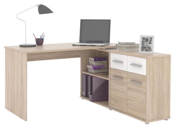 Písací Stôl Raf 12 - farby dubu/biela, Moderný, kompozitné drevo (138/74.6/142.4cm)