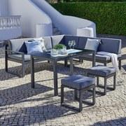 Loungegarnitur Nizza - Anthrazit/Schwarz, MODERN, Glas/Textil (213cm) - Beldano