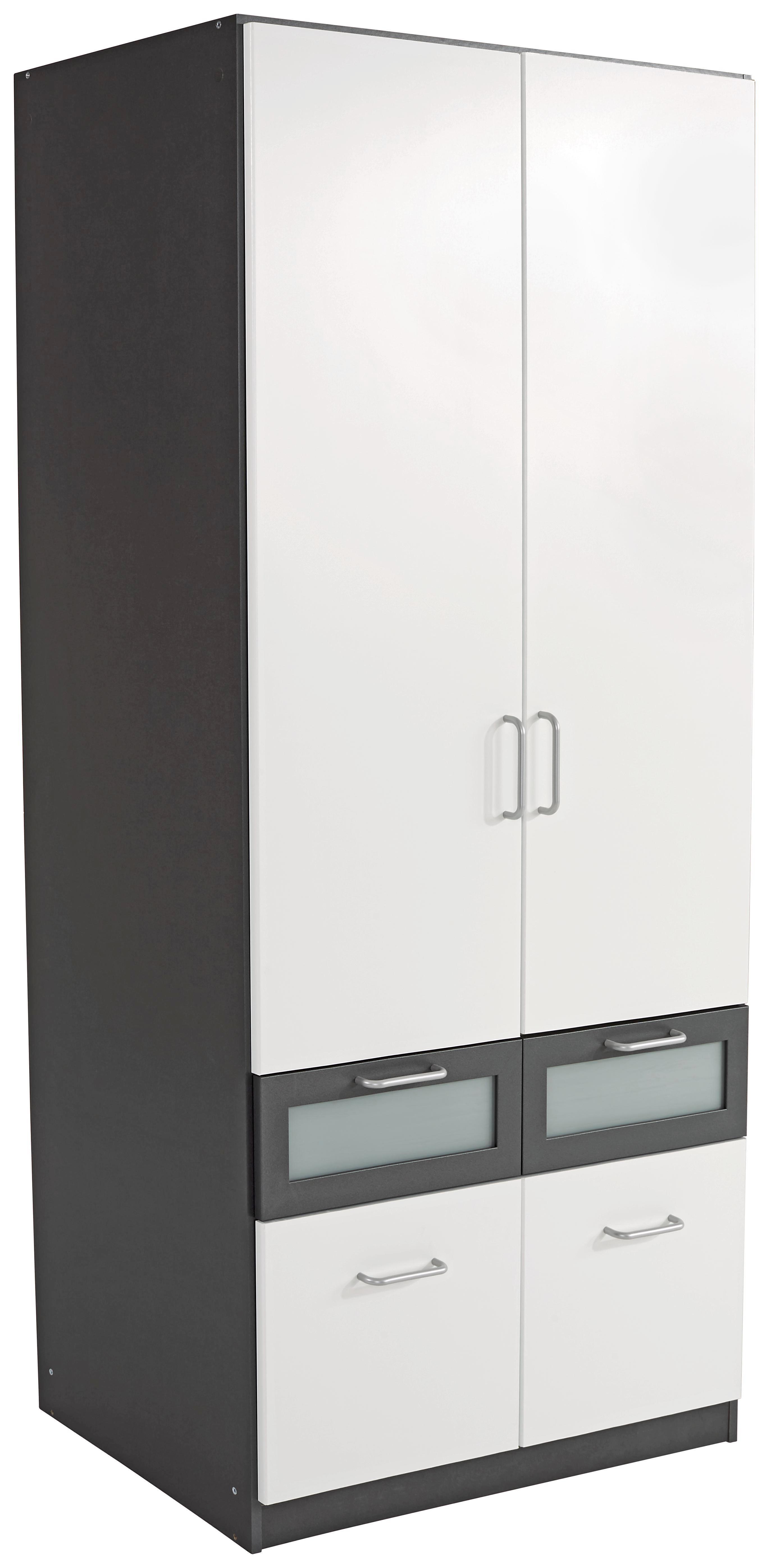 Kleiderschrank weiß grau B 91 cm Kinderzimmer Drehtürenschrank Wäscheschrank