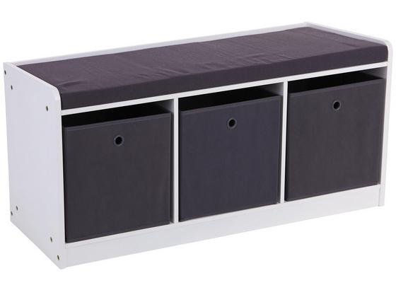 Schuhregal mit Sitzfläche Oliver 102cm Weiß/Grau - Weiß/Grau, MODERN, Holzwerkstoff/Textil (102/45/32cm)