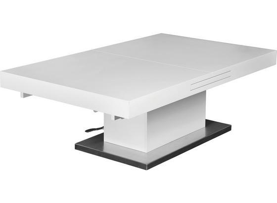 Konferenčný Stolík 2in1 - biela/farby nerezovej ocele, Moderný, kov/kompozitné drevo (133/170/47,5/75/80cm)
