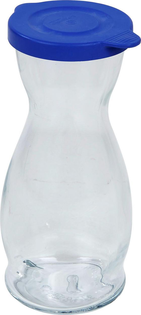 Wasserkaraffe Isolde - Blau/Klar, KONVENTIONELL, Glas/Kunststoff (0,5l) - Luca Bessoni