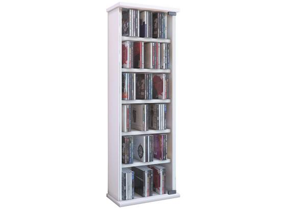 CD-Regal Vetro B: 31 cm - Weiß, KONVENTIONELL, Glas/Holzwerkstoff (31/92/18cm) - Livetastic