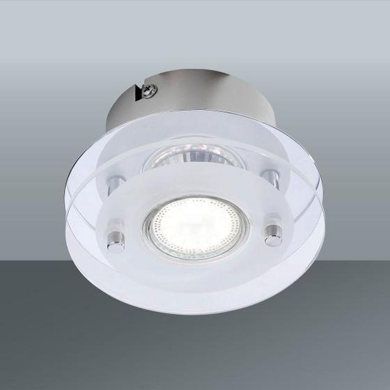 Stropná Lampa Stefan - biela/farby chrómu, Konvenčný, kov/sklo (12/7cm)