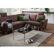 Couchtisch Riva L: ca. 120 cm - Goldfarben/Schwarz, Design, Holzwerkstoff/Metall (120/60/45cm) - MID.YOU