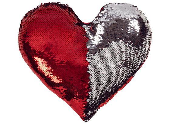 Zierkissen Heart - Rot/Silberfarben, MODERN, Textil (30/26cm) - Luca Bessoni
