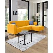 Ecksofa mit Holzfüßen Geneve, Webstoff - Gelb/Naturfarben, MODERN, Textil (217/144cm)