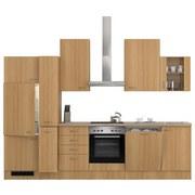 Küchenblock Nano 310cm Buche - Edelstahlfarben/Buchefarben, MODERN, Holzwerkstoff (310/60cm)