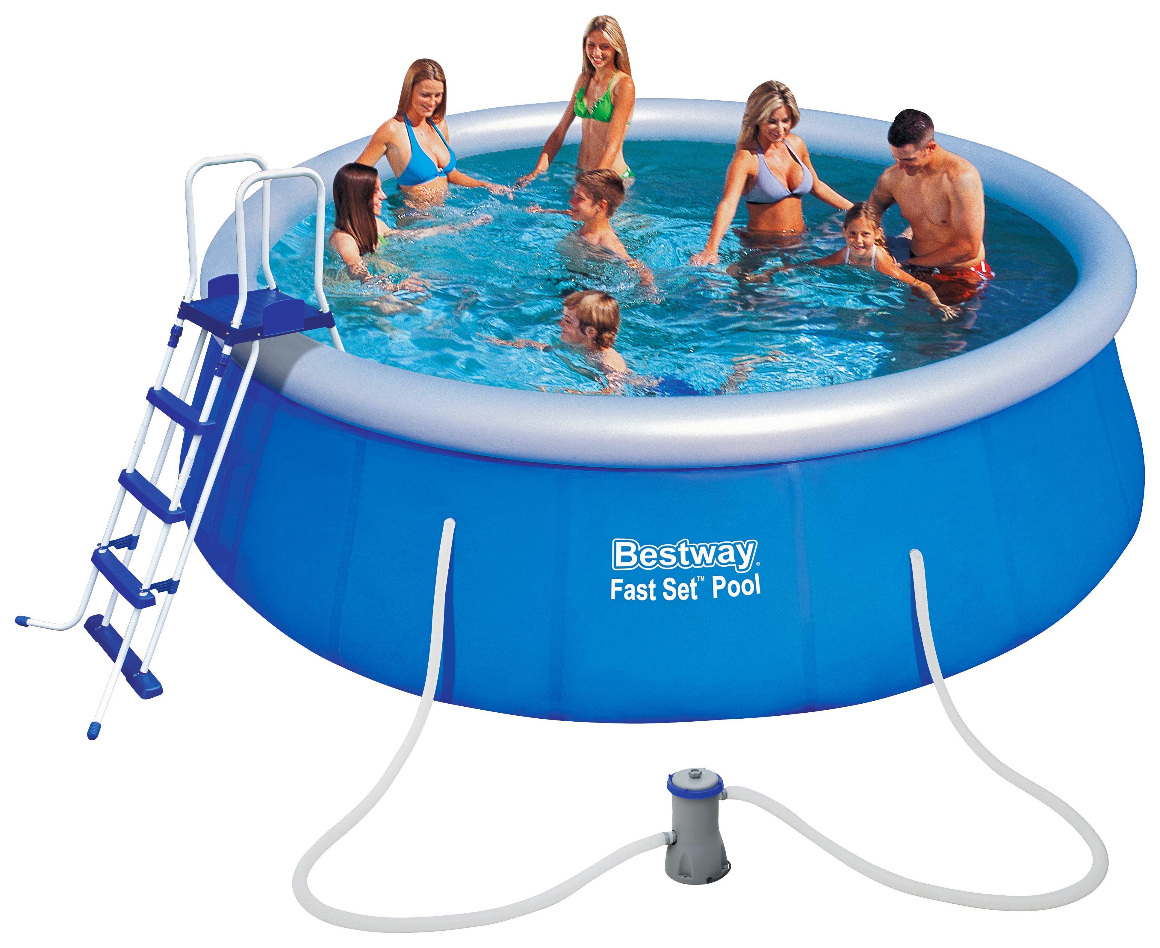 Bestway Schwimmbecken Fast Set Pool 57289   Blau, Kunststoff (457/122cm)