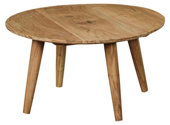 Massiver Couchtisch Rund mit Ablage Boha, Akazie Ø75cm - Akaziefarben, Design, Holz (75/75/40cm) - Carryhome