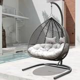 Závěsné Křeslo Bari - tmavě šedá/světle šedá, Moderní, kov/textilie (130/201/116cm) - Modern Living