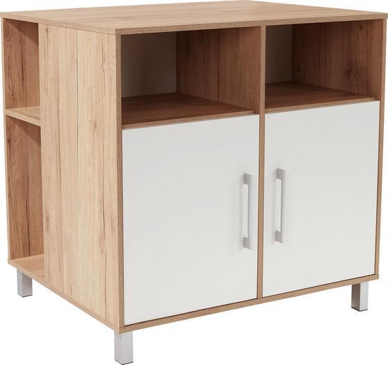 Komód Box - Tölgyfa/Fehér, modern, Faalapú anyag (99/90/67cm)