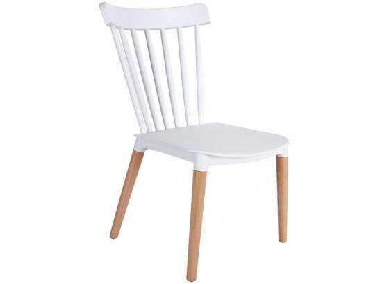 Stuhl Bert B: 43 cm Weiß - Weiß/Naturfarben, MODERN, Holz/Kunststoff (43/84/49cm) - Ombra