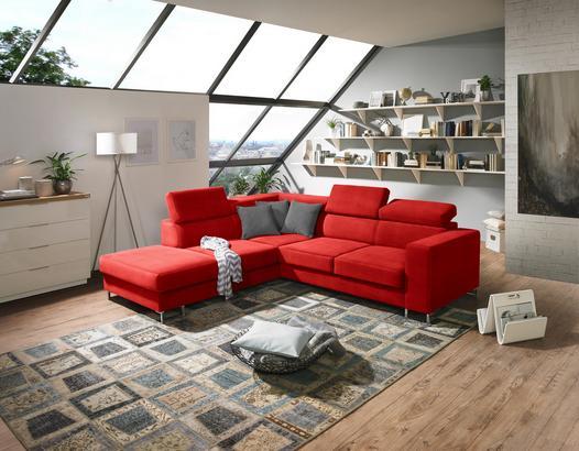 Wohnlandschaft mit Webstoff-Bezug in Rot