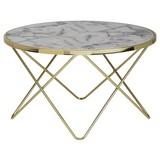 Couchtisch D: ca. 85 cm Goldfarben - Goldfarben/Weiß, Design, Holzwerkstoff/Metall (85/85/49cm) - MID.YOU