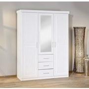 Drehtürenschrank Massiv mit Spiegel 140cm Geraldo, Weiß - Weiß, LIFESTYLE, Holz (140/190/55cm) - MID.YOU