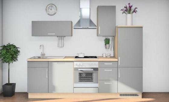 Küchenblock Mona 280 cm Grau/eiche - Eichefarben/Grau, MODERN, Holzwerkstoff (280cm) - Vertico