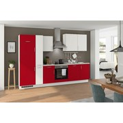 Küchenblock Turin 310 cm Weiß/Signalrot - Rot/Hellgrau, LIFESTYLE, Holzwerkstoff (310cm) - Qcina