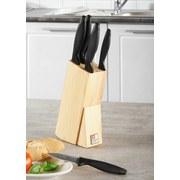 Messerblock Laser Cuisine - Silberfarben/Schwarz, KONVENTIONELL, Holz/Kunststoff