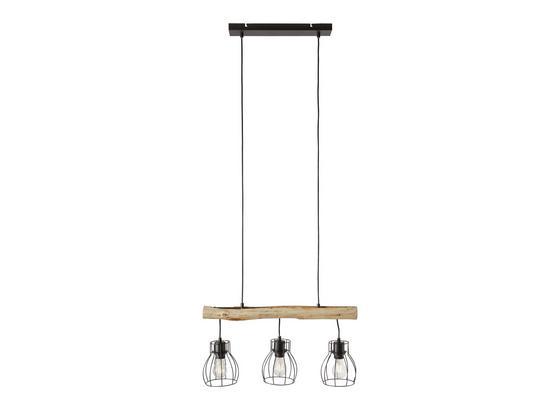 Závesná Lampa Gidi - čierna, Romantický / Vidiecky, kov/drevo (60cm) - Modern Living