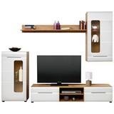 Obývací Stěna Bailamos - bílá/barvy dubu, Moderní, dřevěný materiál (235/199,1/41,6cm)