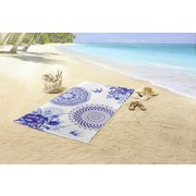 Strandtuch Grande - Blau/Weiß, Basics, Textil (100/180cm)