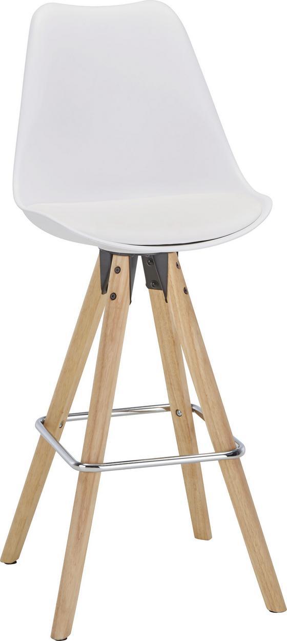 Barová Židle Durham - bílá/hnědá, Moderní, kov/dřevo (48,5/111,5/55cm)