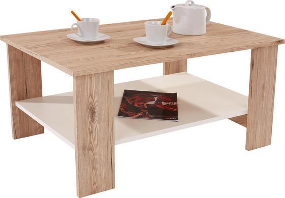Dohányzóasztal Paolo - Tölgyfa/Fehér, modern, Faalapú anyag (90/41/55cm)