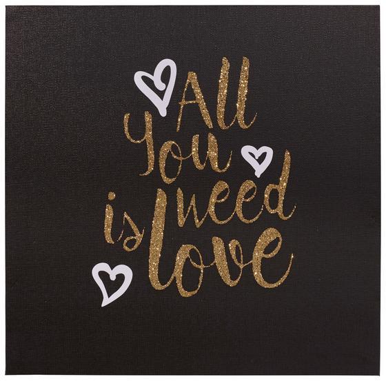 Keilrahmenbild Mandy - Dunkelgrau/Goldfarben, Holz/Textil (28/28/1,5cm) - Ombra