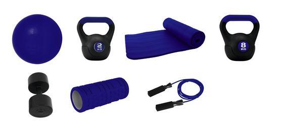 Fitness-Set V2 - Blau/Schwarz, MODERN, Kunststoff