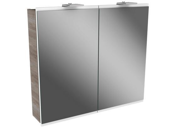 Spiegelschrank Lima B:80cm Weiß/esche Dekor - Eschefarben, MODERN, Glas/Holzwerkstoff (80/73/15,5cm) - Fackelmann