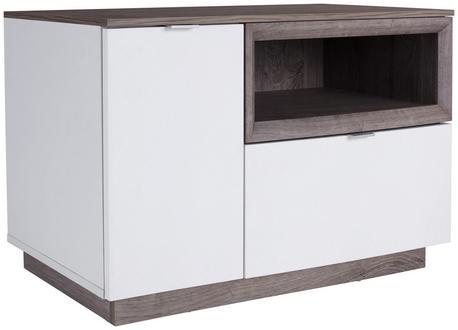 Garderobenbank im modernen Design in Weiß und Eiche Dekor