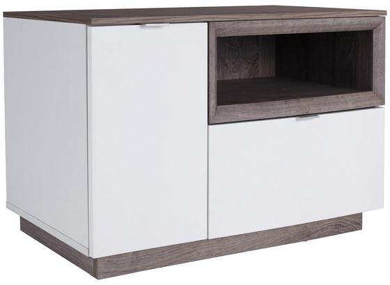 Garderobenbank Nagos - Eichefarben/Weiß, MODERN, Holzwerkstoff (90/53,4/36,9cm)
