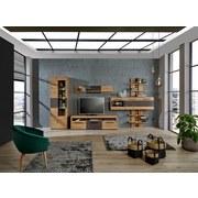 Hängevitrine Safira inkl. LED- Beleuchtung B:165cm Dekor - Eichefarben, MODERN, Glas/Holzwerkstoff (165/195/37cm)