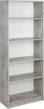 Regál 4-you New Yur03 - bílá/šedá, Moderní, dřevěný materiál (74/189,5/34,6cm)