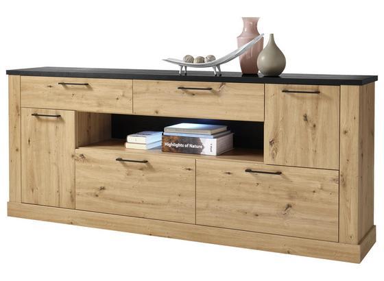 Příborník/komoda Morel - černá/barvy dubu, Romantický / Rustikální, kompozitní dřevo (212/89/45cm) - Modern Living