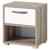 Nachtkästchen Buche Dekor/Weiß H: 52 cm Moon - Silberfarben/Weiß, MODERN, Holzwerkstoff (49/52/41cm) - MID.YOU