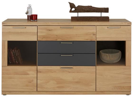 Příborník/komoda Bianco - barvy dubu/barvy grafitu, Konvenční, dřevo/kompozitní dřevo (165/94/42cm) - Zandiara