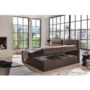 Boxspringbett mit Topper & Bettkasten 195x220cm Mercura - Braun, MODERN, Holzwerkstoff/Textil (180/200cm)