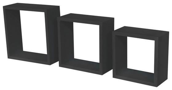 Nástenný Regál Simple 3 - čierna, Moderný, umelá hmota/drevený materiál (30/30/12cm)