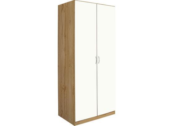 Šatníková Skriňa Karo, Biela/dub Wotan - farby dubu/biela, Konvenčný, kompozitné drevo (91/197/54cm)