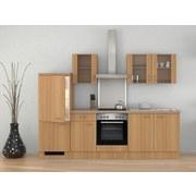 Küchenblock Nano 270cm Buche - Edelstahlfarben/Buchefarben, MODERN, Holzwerkstoff (270cm) - MID.YOU