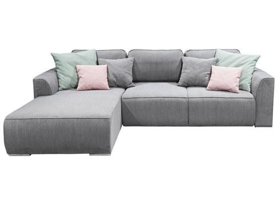 Wohnlandschaft In L-Form Lazy Ecke ca. 206x294 cm - Pink/Silberfarben, Design, Holzwerkstoff/Textil (206/294cm) - Carryhome