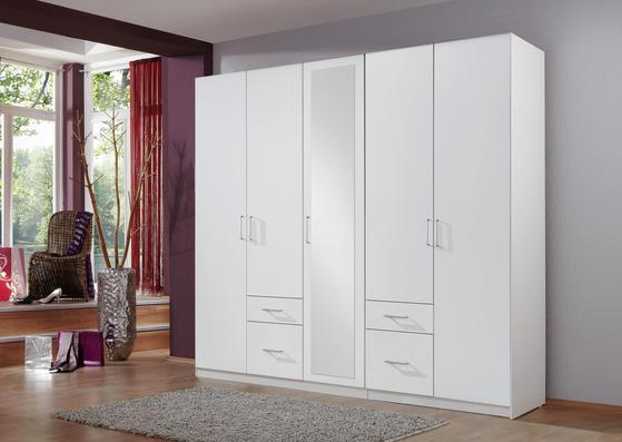 Fünftüriger Kleiderschrank in Weiß mit Schubladen