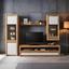 Vitrína Kashmir New - bílá/barvy dubu, Moderní, kompozitní dřevo (57/119/36cm) - James Wood