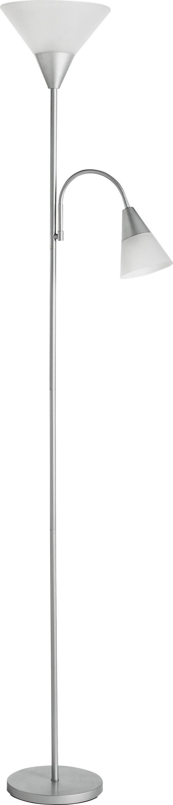 Stehleuchte Filipa - Silberfarben, KONVENTIONELL, Kunststoff/Metall (182cm) - Homezone