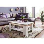 Couchtisch Holz mit Ablagefach Weiß/Eichefarben - Weiß/Sonoma Eiche, MODERN, Holzwerkstoff (86,5/58,5/40cm) - Livetastic