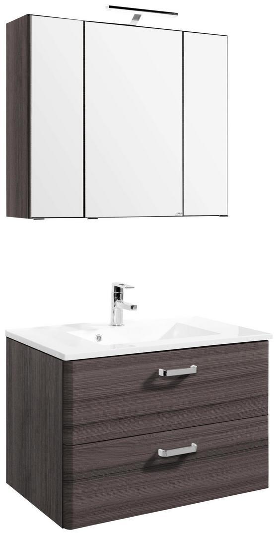 Badezimmer Phönix 80 cm Eiche Dekor - Eichefarben/Weiß, MODERN, Holzwerkstoff/Kunststoff (80/54cm)