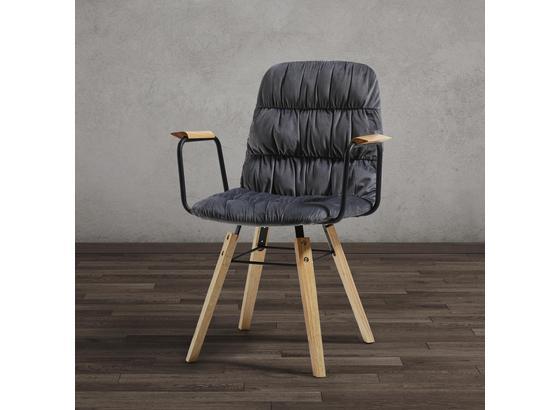 Stolička S Podrúčkami Jan - sivá/farby buku, Moderný, drevo/textil (65/59/86cm) - Modern Living